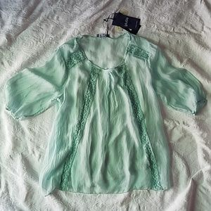 Giulia Silk & Lace Mint Top
